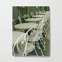 Cafe Table and Chairs - sepia Metal Print
