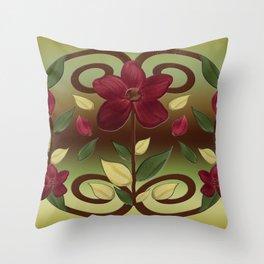 Scarlet Flora Throw Pillow