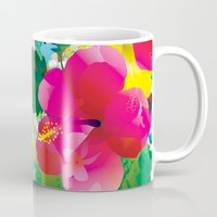 hawaiian Mugs featuring Hawaiian jungle by Akwaflorell