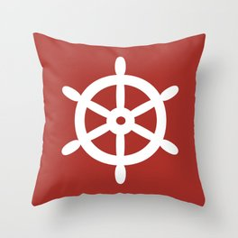 Ship Wheel (White & Maroon) Throw Pillow