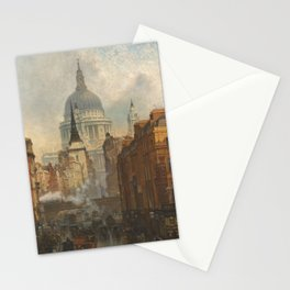 London skyline, Vintage view of St Paul's Cathedral Victorian era Stationery Cards