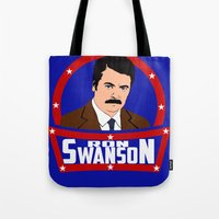 ron swanson Tote Bags featuring Ron Swanson by SuperEdu