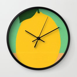 Lemon With Two Leaves Wall Clock