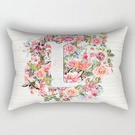 Initial Letter L Watercolor Flower Rectangular Pillow