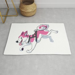 Pink Husky Running Rug