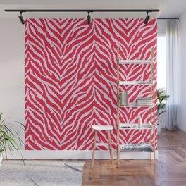 Red zebra fur texture Wall Mural