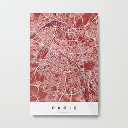 Paris, France Map   Red & Blue   More Colors, Review My Collections Metal Print