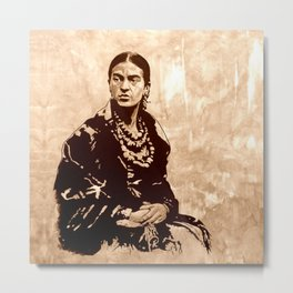 FRIDA - the mistress of ARTs - sepia version Metal Print