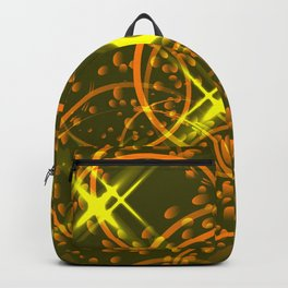 Metallic stars and rings in golden hues on a shimmering background. Backpack