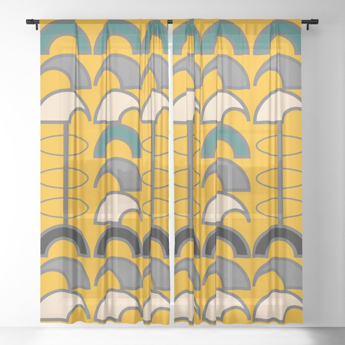 Mid-century retro shapes Sheer Curtain
