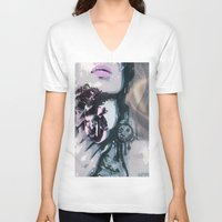 romantic V-neck T-shirts featuring romantic by Ezgi Kaya