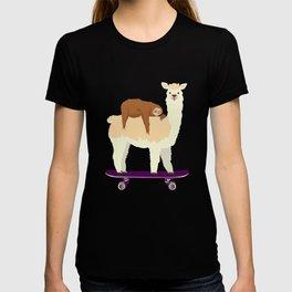 Cute Skateboarding Llama with Sleeping Sloth Skateboard Gift T-shirt