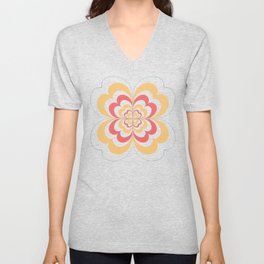 Groovy Flower In Yellow and Coral on Black Unisex V-Neck