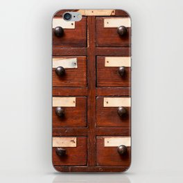 Backgrounds and textures: very old wooden cabinet with drawers iPhone Skin
