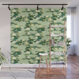 Waterlily pattern in Green Wall Mural