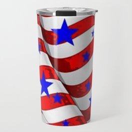 RED PATRIOTIC JULY 4TH BLUE STARS AMERICANA ART Travel Mug