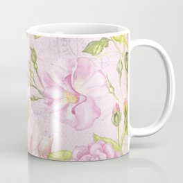 Floral painterly background in pink with Roses Flowers and Birds Coffee Mug