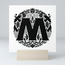 Letter M monogram wildwood Mini Art Print
