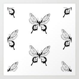 Butterfly Black Pattern Art Print