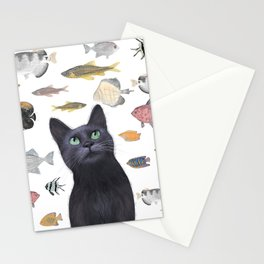 The Black Cat Waiting for a Fish to Come By Stationery Cards