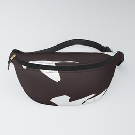 White Silhouette of Glossy Ibises In Flight Fanny Pack
