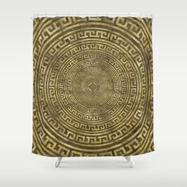 Circular Greek Meander Pattern - Greek Key Ornament Shower Curtain