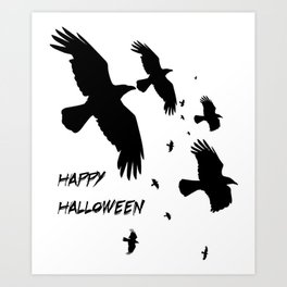 Happy Halloween Murder of Crows  Art Print