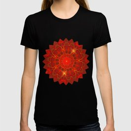 Mandala Thin Lines Warm Colors Red Background T-shirt