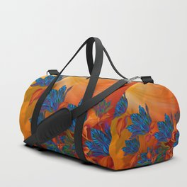 """Blue flowers on orange silk"" (Air Spring at night) Duffle Bag"