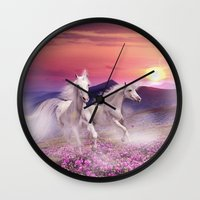 unicorns Wall Clocks featuring Unicorns by Nessendyl