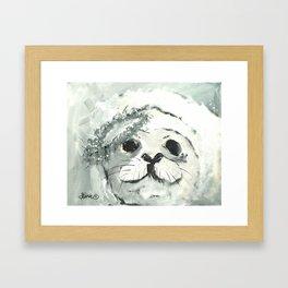 White Seal Framed Art Print