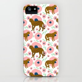 Cheetahs in Flowers iPhone Case