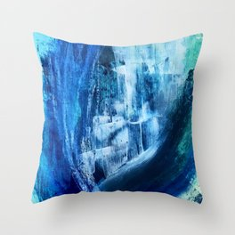 Cerulean [5]: a vibrant blue abstract with texture and layers Throw Pillow