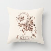 aries Throw Pillows featuring Aries by Morgan Ofsharick - meoillustration