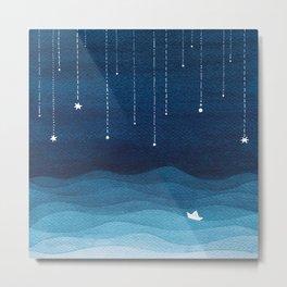 Falling stars, blue, sailboat, ocean Metal Print