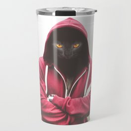 Creepy Black Cat Dressed Hoodie Travel Mug