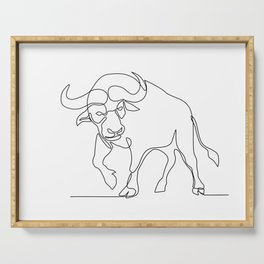 African Buffalo Continuous Line Serving Tray