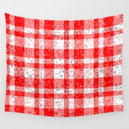 Red White Patchy Marble Tartan Pattern Wall Tapestry