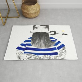 tattoo sailor in blue stripes and white background watercolor illustration Rug