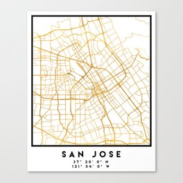 SAN JOSE CALIFORNIA CITY STREET MAP ART Canvas Print