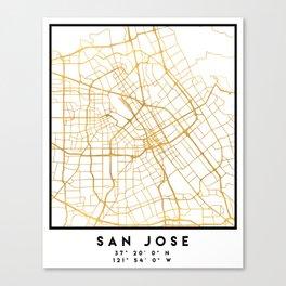 SAN JOSE CALIFORNIA CITY STREET MAP ART Canvas Print