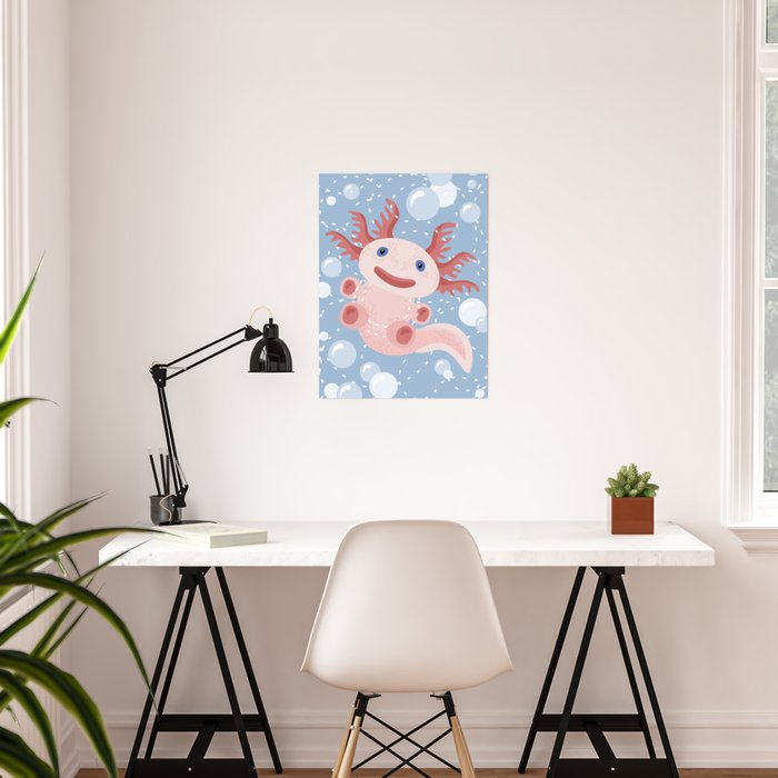 Cute Axolotl and The Bubbles Poster