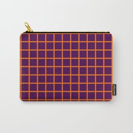Orange On Purple Grid Carry-All Pouch