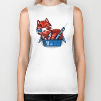 mew Biker Tanks featuring Doctor Mew by harebrained