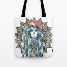 Day of the Dead Woman Mandala Tote Bag