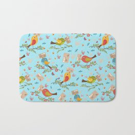 Special Springtime Delivery From Little Birds Pattern Bath Mat