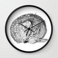 bambi Wall Clocks featuring Bambi by Cheyenne illustration