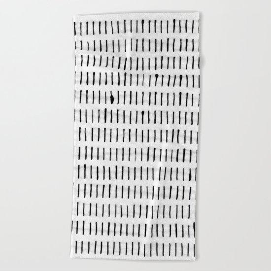 Black Ink Woodstock Pattern on White Beach Towel