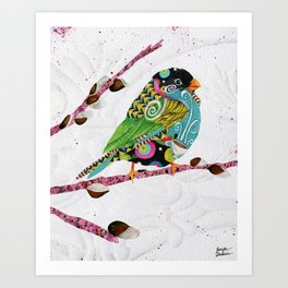 Cafe Swirly Bird. Candy Colored Edition Art Print