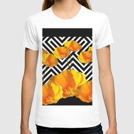 BLACK & WHITE CALIFORNIA YELLOW POPPIES ART T-shirt